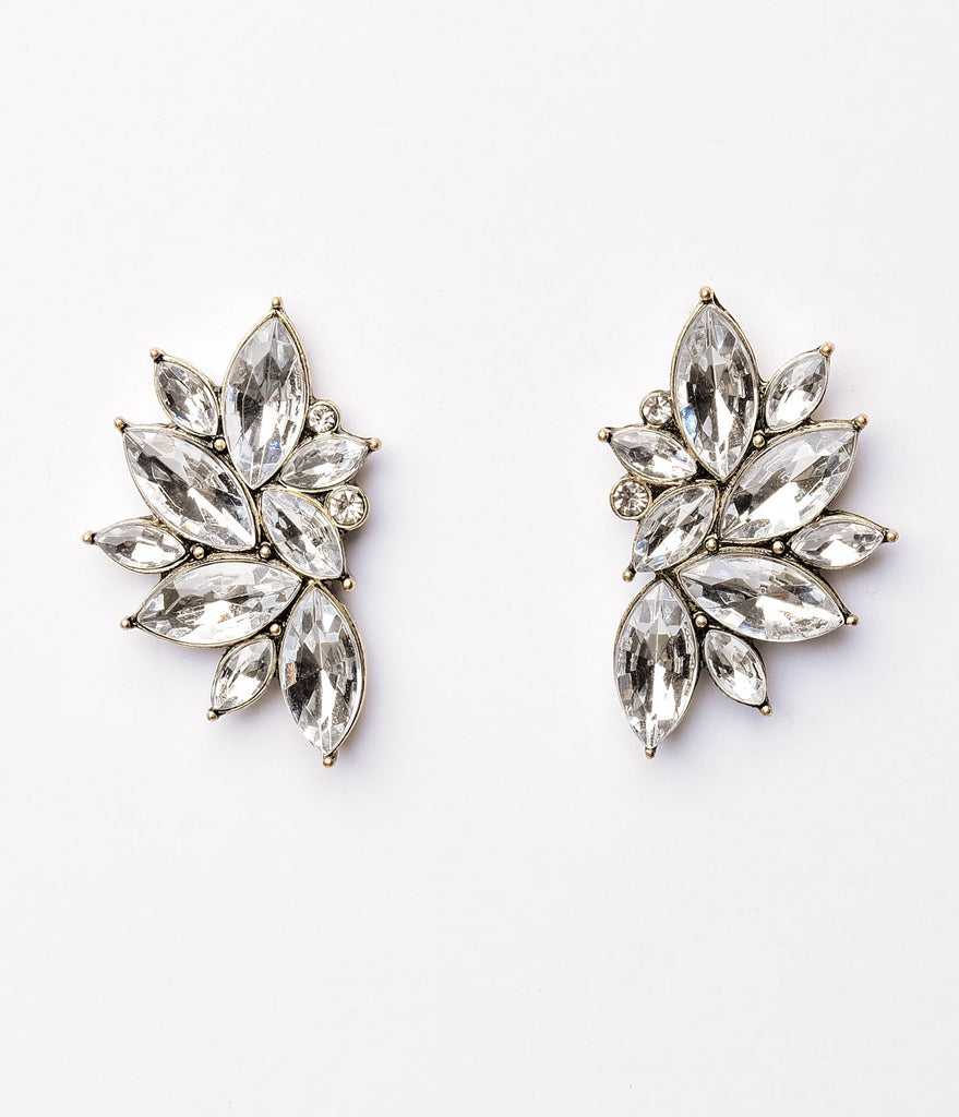 Vintage Style Silver Rhinestone Flair Post Earrings