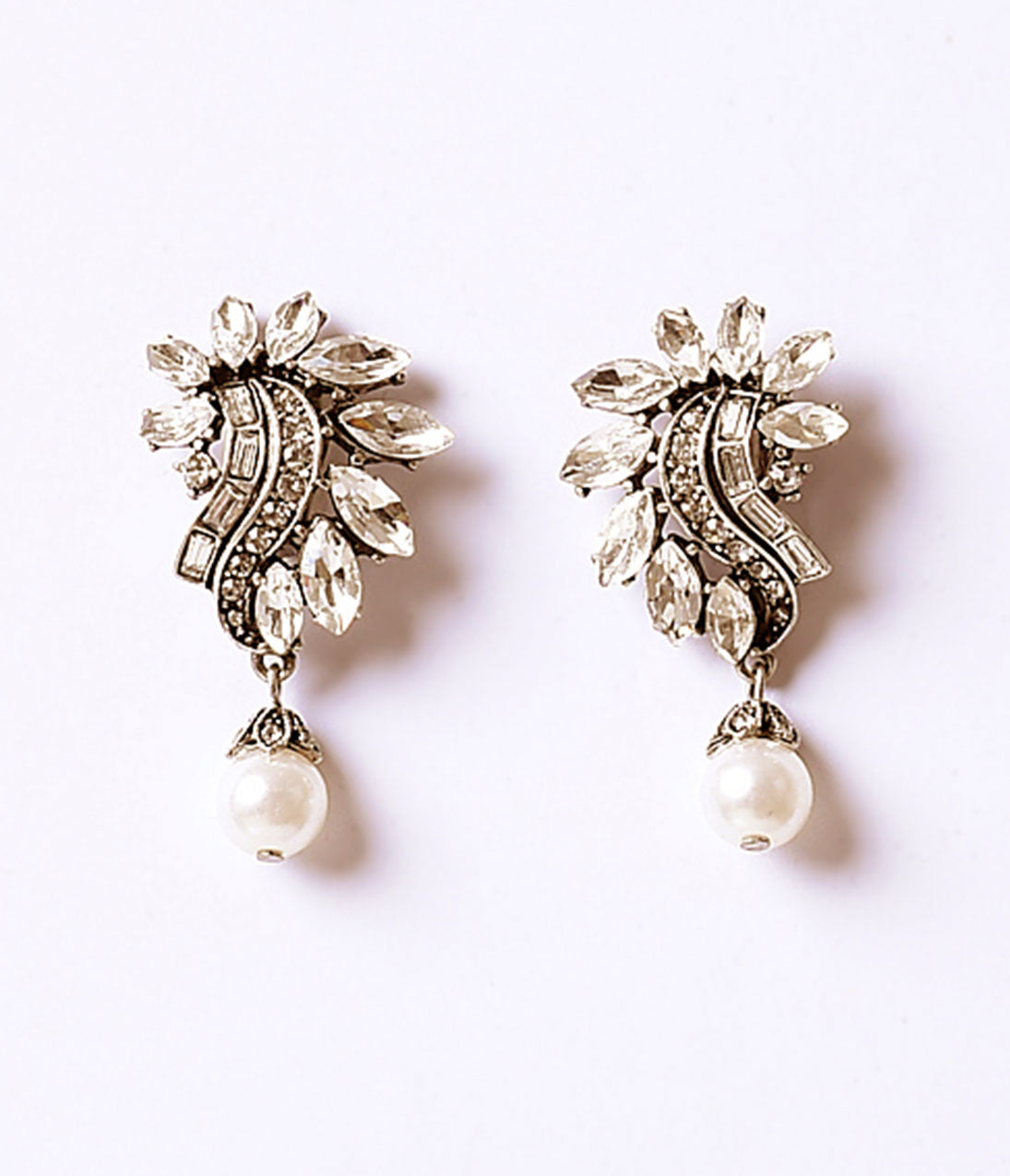 1930s Jewelry | Art Deco Style Jewelry Vintage Style Silver Rhinestone  Ivory Pearl Earrings $22.00 AT vintagedancer.com