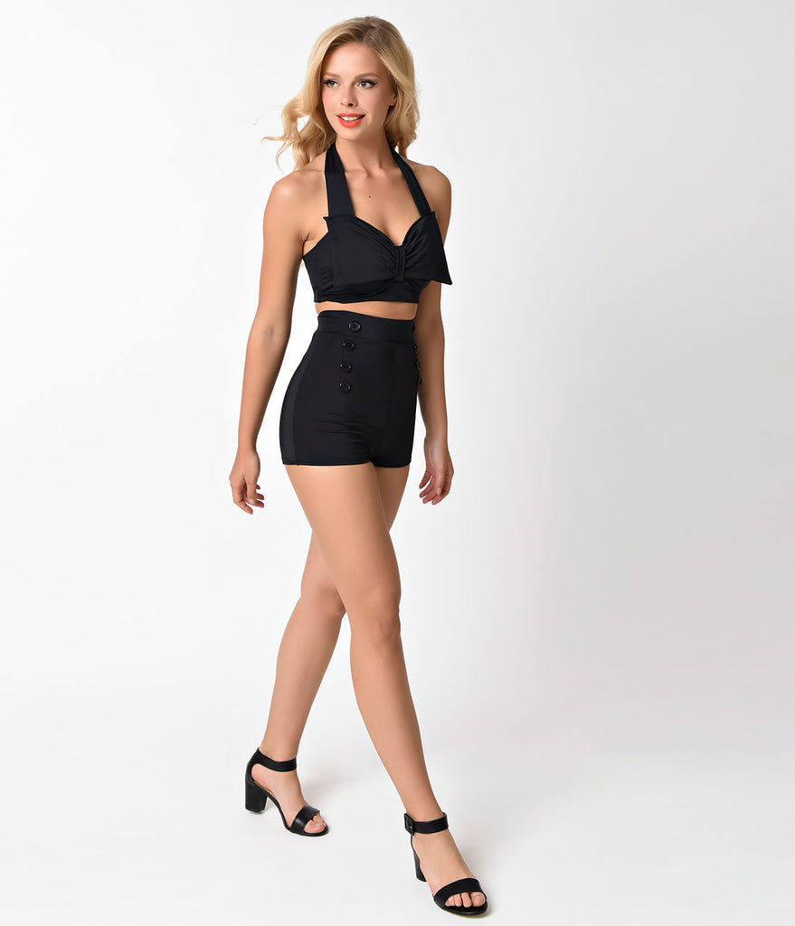 Pin Up Style Solid Black Bow Halter Swim Top