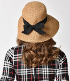Vintage Style Tan Wave Plaited Floppy Sun Hat with Bow