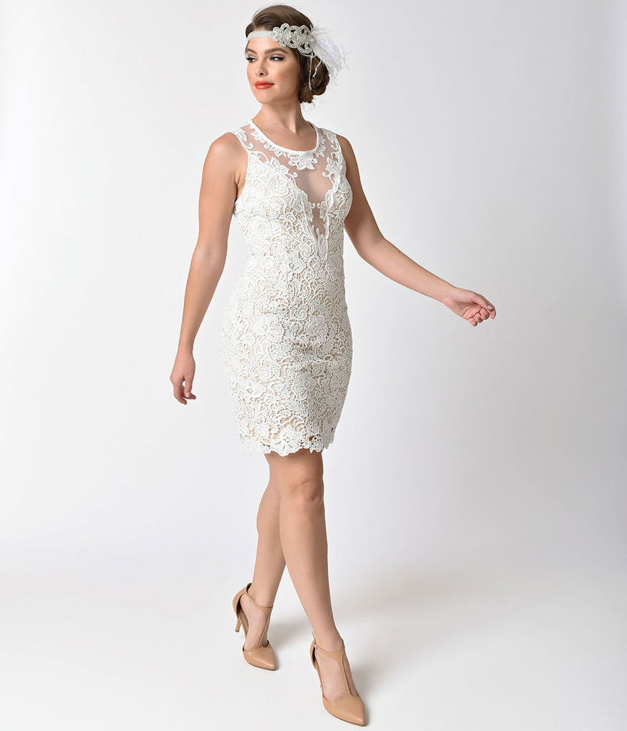 Vintage Style White Deco Embroidered Illusion Fitted Short Dress
