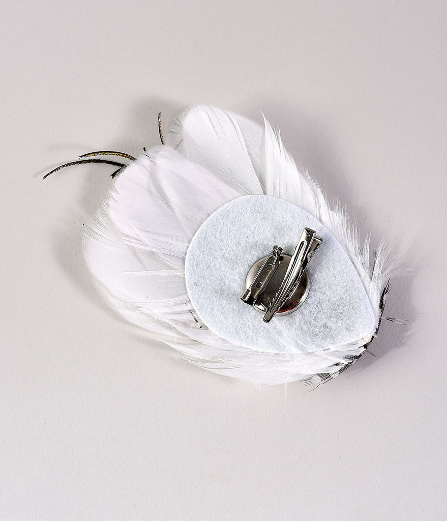 Vintage Style White Goose, Guinea, & Peacock Feather Hair Clip