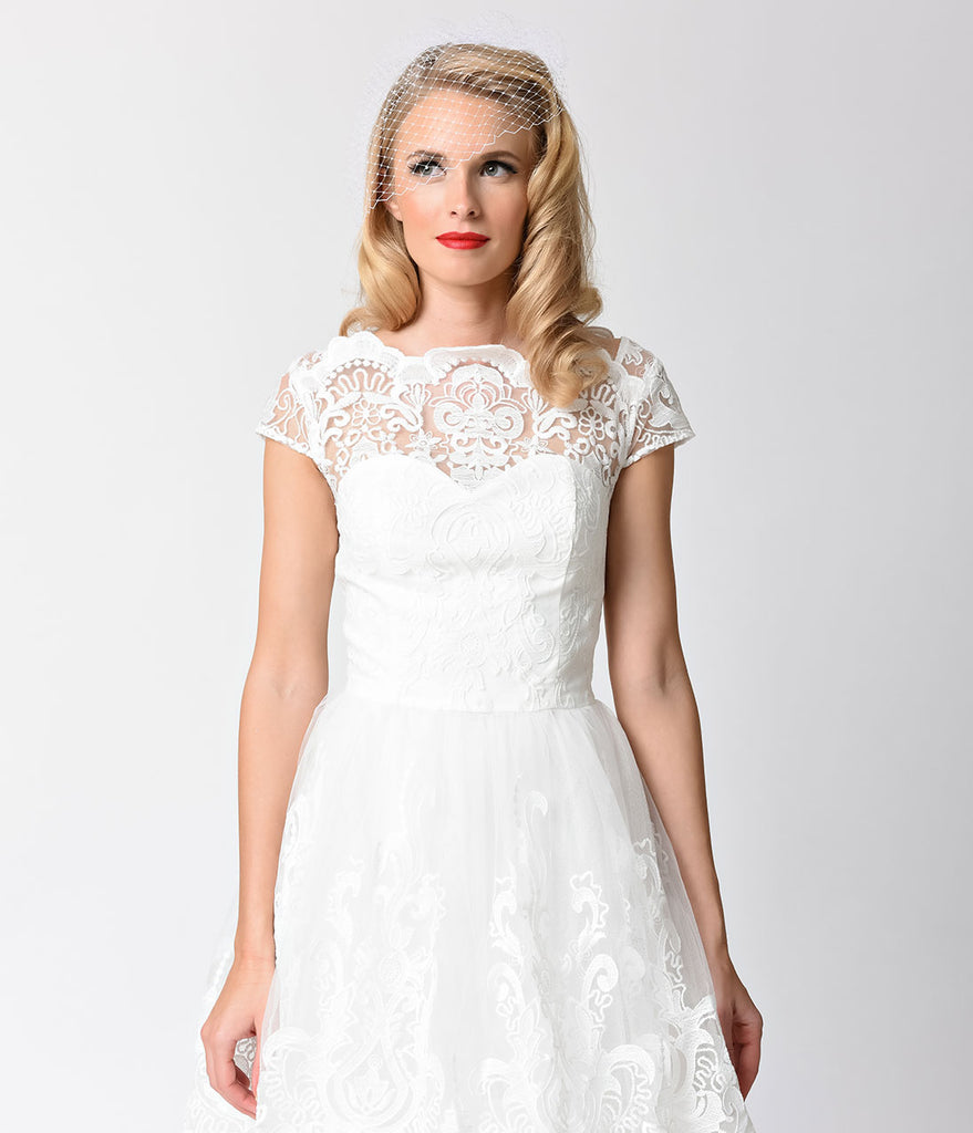 Chi Chi London Vintage Style White Lace Cap Sleeve Aerin Bridal ...