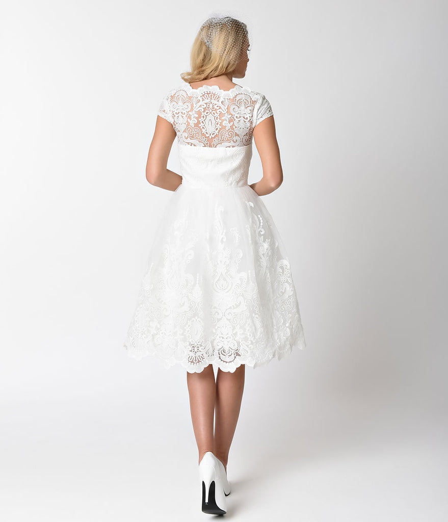 Chi Chi London Vintage Style White Lace Cap Sleeve Aerin Bridal Swing Dress