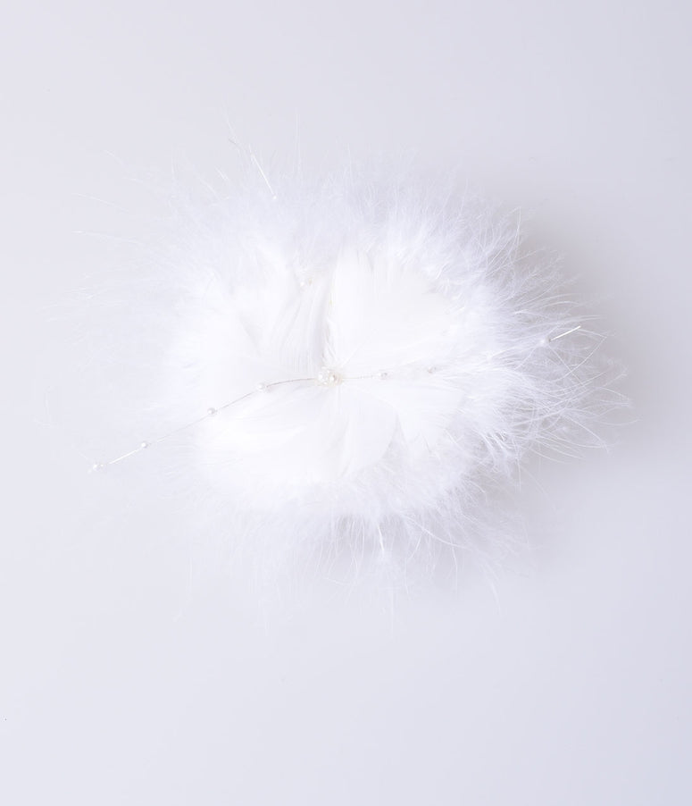 Vintage Style White Marabou Feather & Pearls Hair Clip