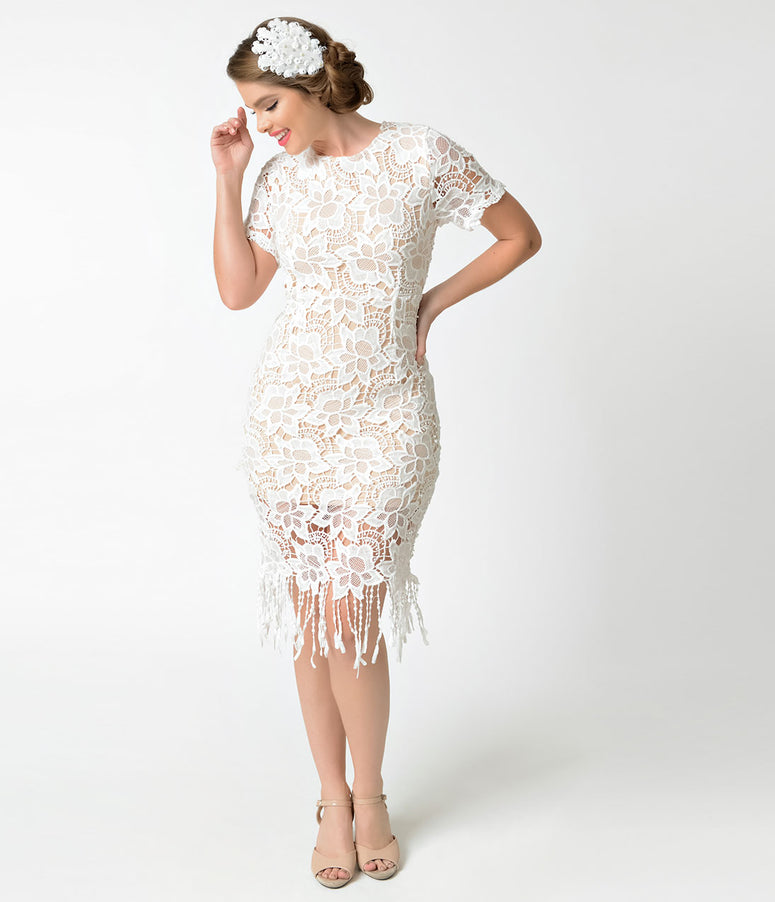 Vintage Style White & Nude Crochet Lace Short Sleeve Flapper Dress