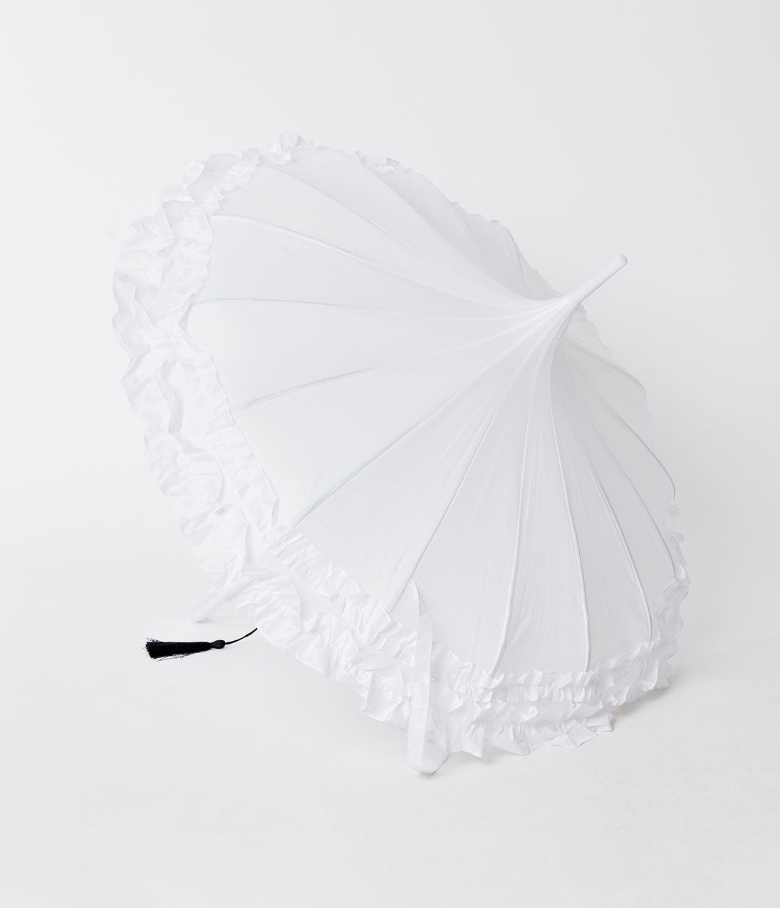 Vintage Style Parasols and Umbrellas Vintage Style White Pagoda Ruffle Gigi Umbrella $46.00 AT vintagedancer.com