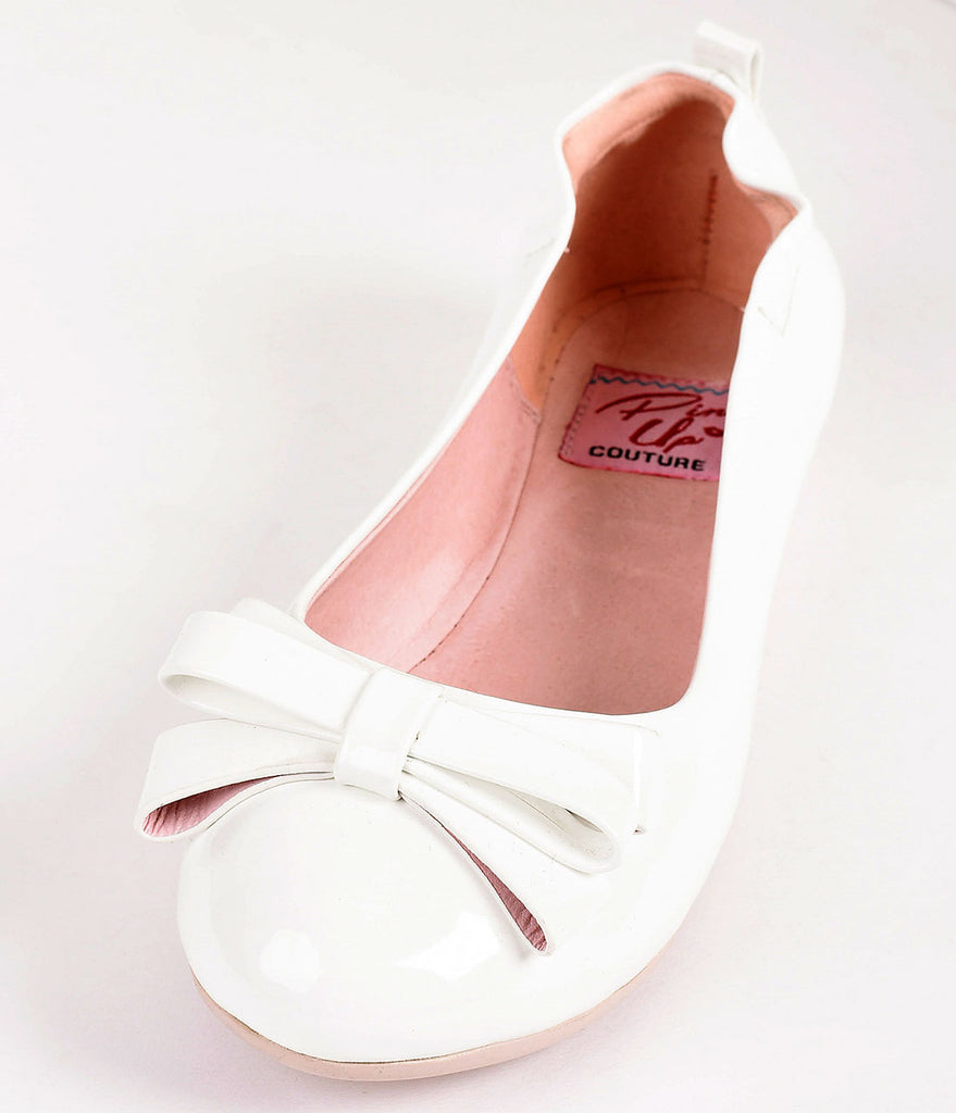 Vintage Style White Patent Leatherette Bow Ballet Flats