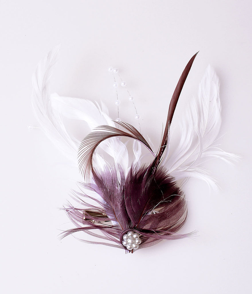 Vintage Style White & Plum Purple Coquille Feather Hair Clip
