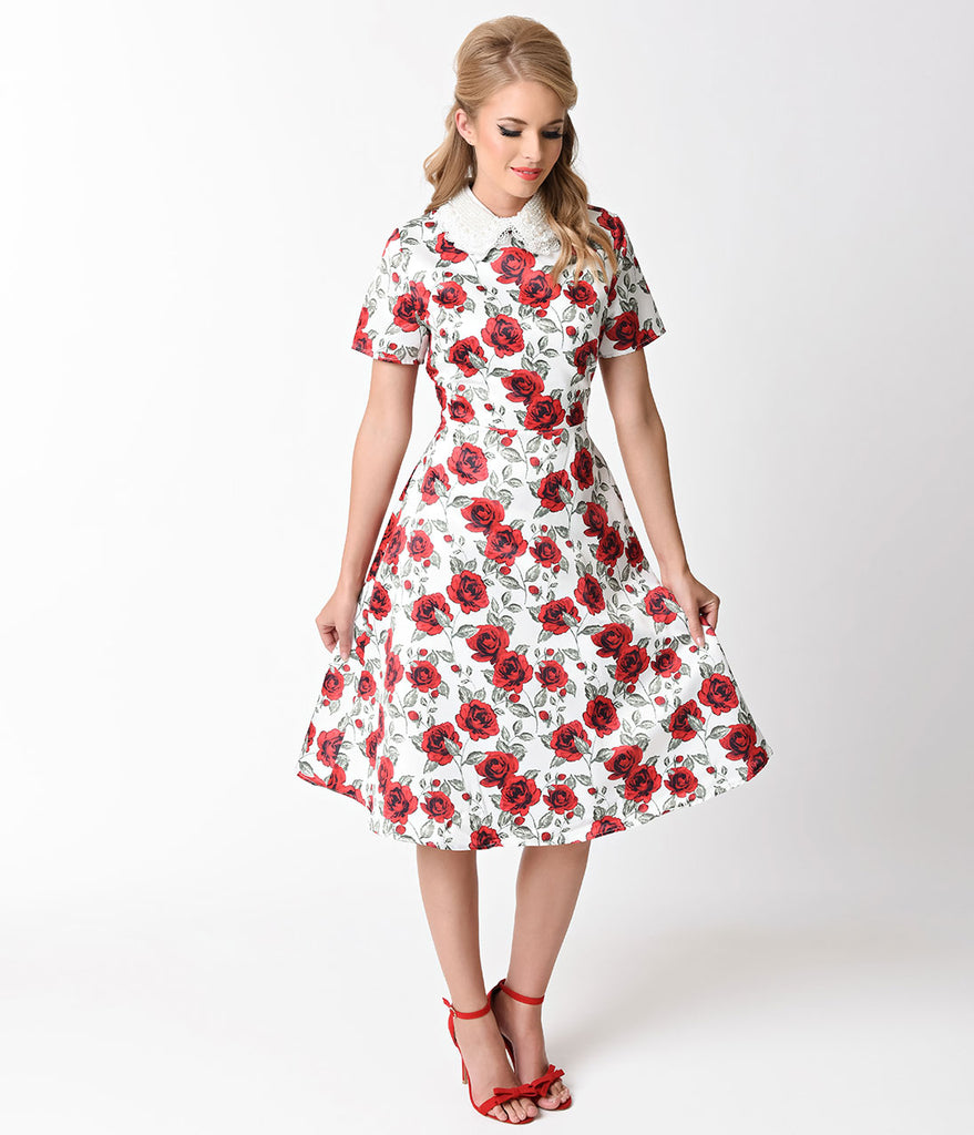 Vintage Style White & Red Rose Short Sleeve Swing Dress