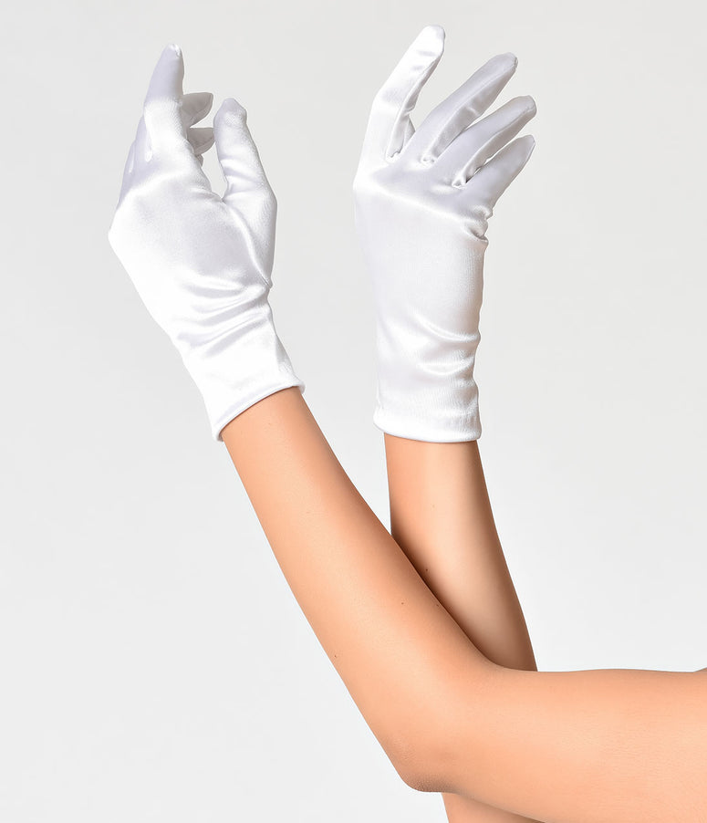 Vintage Style White Satin Wrist Gloves