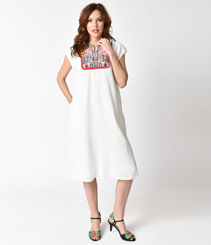 Vintage Style White Woven Cotton & Multicolor Embroidered Cap Sleeve Shift Dress