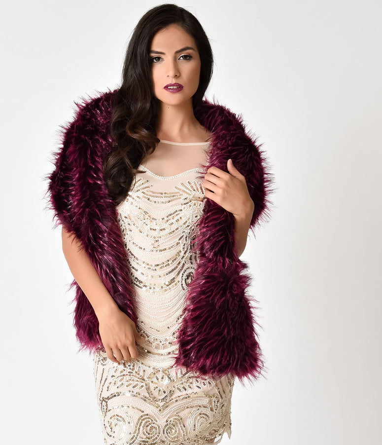 Vintage Style Wine Purple Faux Fur Stole Wrap
