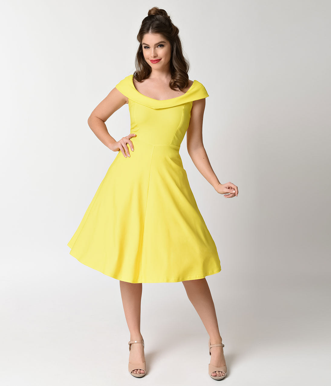 1950s Swing Dresses | 50s Swing Dress Vintage Style Yellow Stretch Cap Sleeve Swing Dress $68.00 AT vintagedancer.com