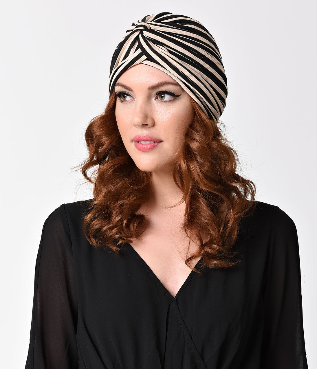 1920s Style Hats Vintage Syle Black  Tan Striped Knotted Turban $14.00 AT vintagedancer.com