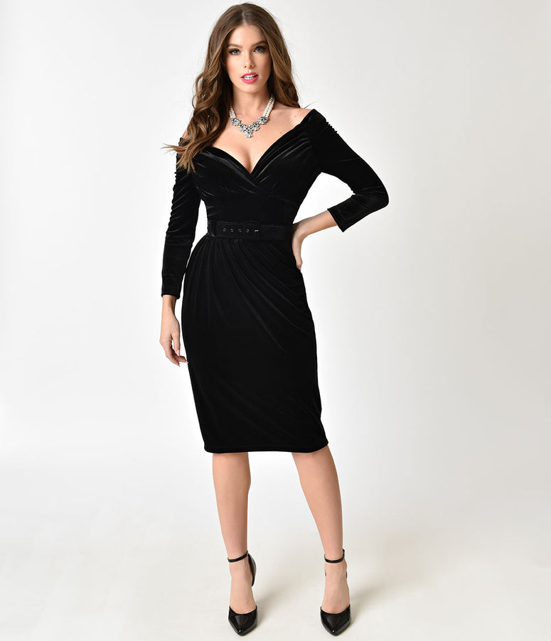 Vixen By Micheline Pitt Black Velvet Starlet Wiggle Dress