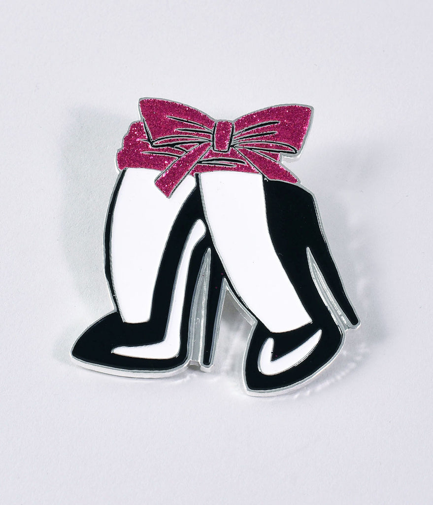 Vixen by Micheline Pitt Black, White, & Pink Glitter Bow Heels Enamel Pin