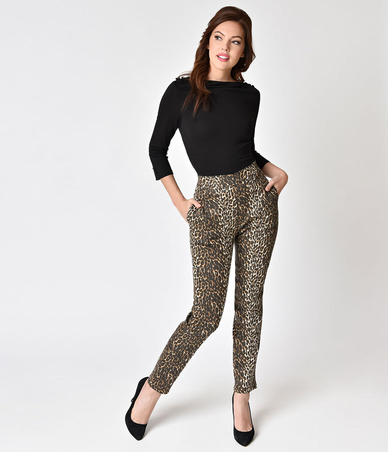 Vixen by Micheline Pitt Leopard High Waist Cigarette Pants