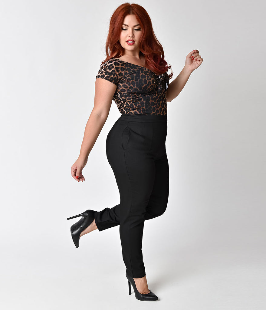 Vixen by Micheline Pitt Plus Size Black High Waist Cigarette Pants