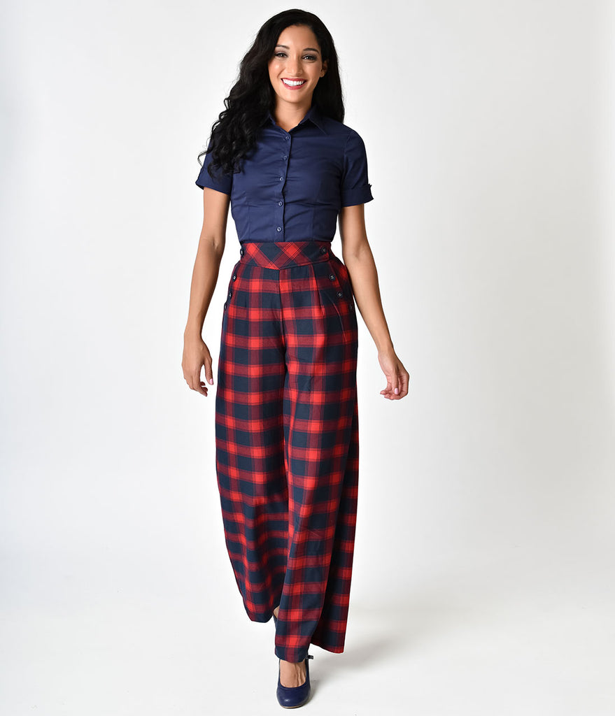 Voodoo Vixen 1940s Style Red High Waist Tartan Rita Flared Trousers