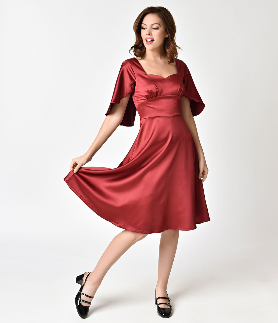 1940s Dresses | 40s Dress, Swing Dress Voodoo Vixen 1940s Burgundy Red Satin Mariah Cape Dress $37.00 AT vintagedancer.com