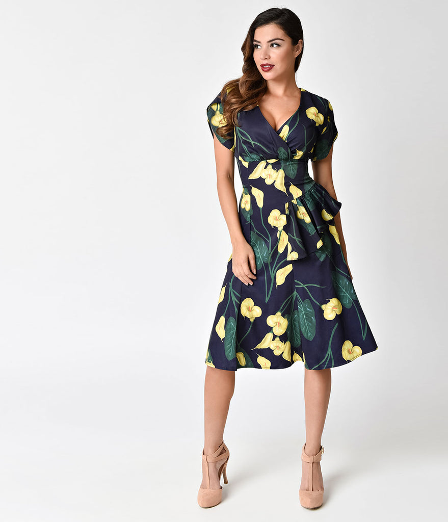 Voodoo Vixen 1940s Navy & Yellow Tulips Flora Dress