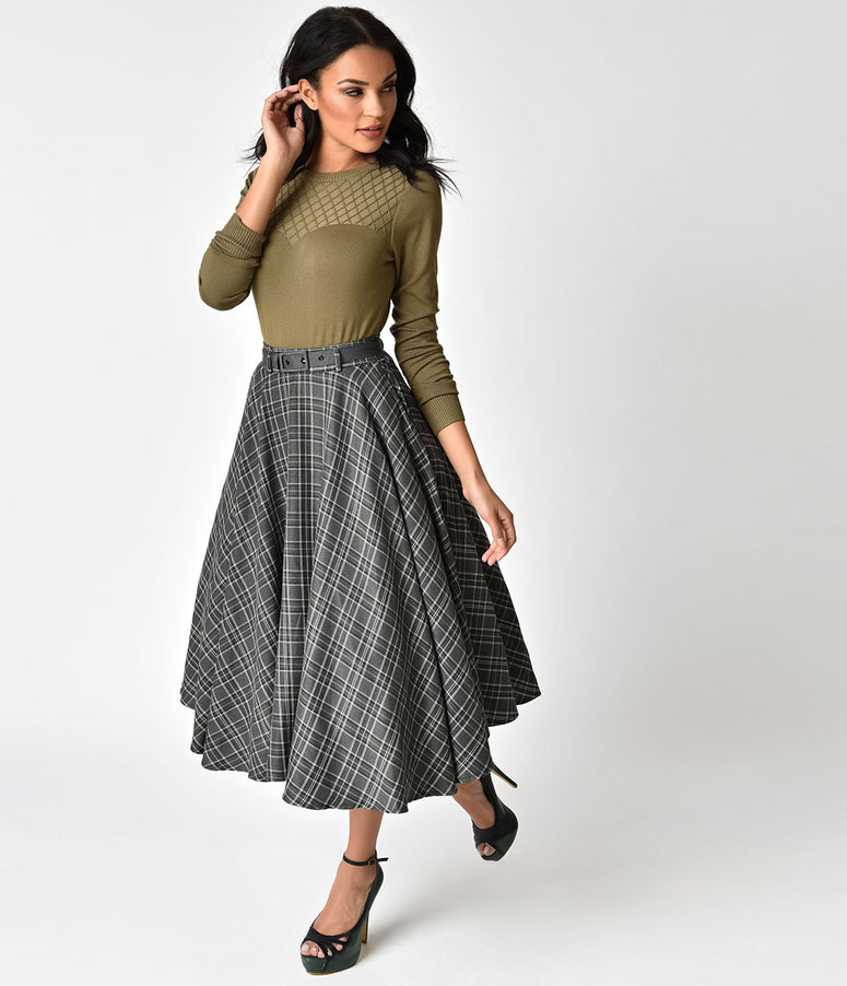 Voodoo Vixen 1940s Style Grey Plaid Bridget Circle Swing Skirt