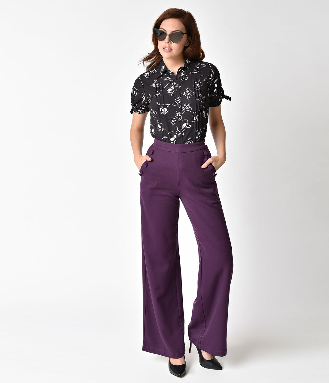 Vintage High Waisted Trousers, Sailor Pants, Jeans Voodoo Vixen 1940s Style Purple High Waist Wide Leg Stacey Pants $43.00 AT vintagedancer.com