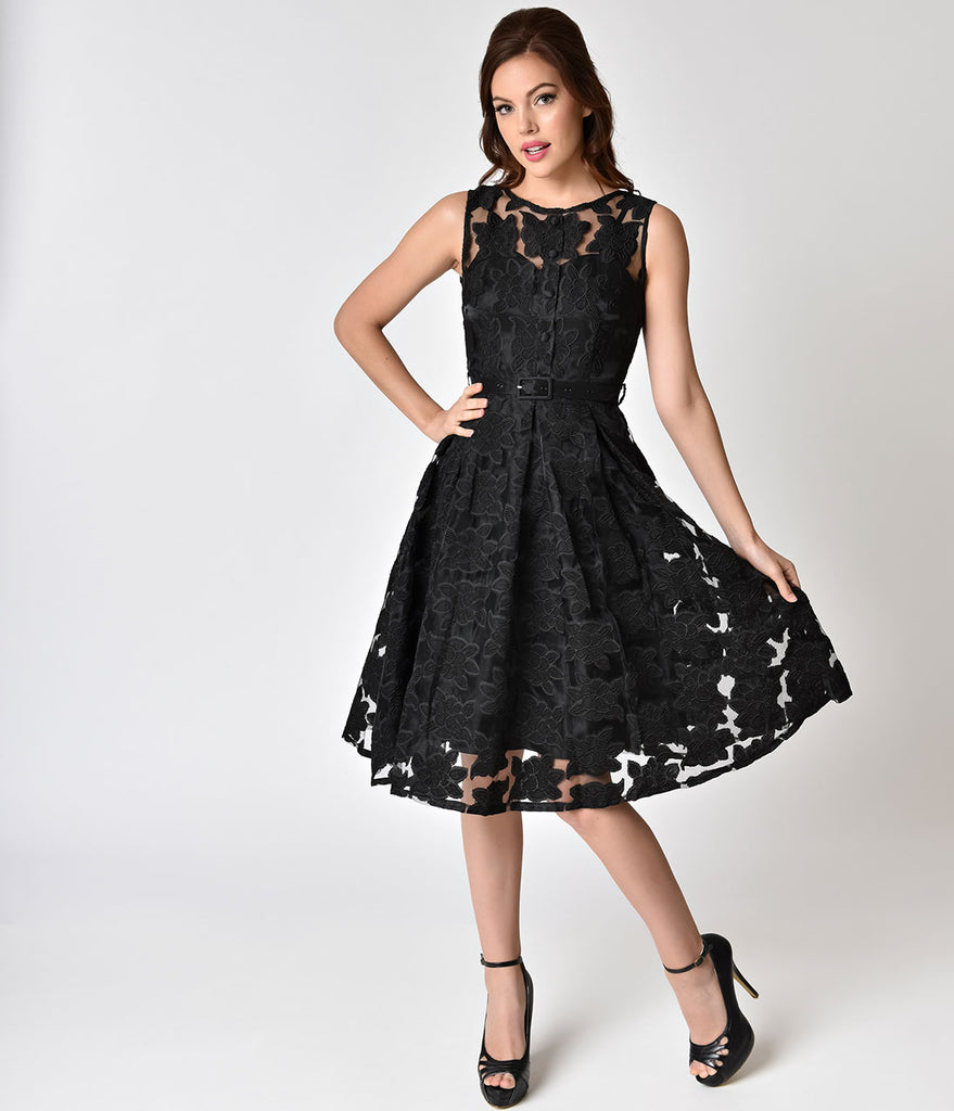 Voodoo Vixen 1950s Style Black Floral Evelyn Swing Dress