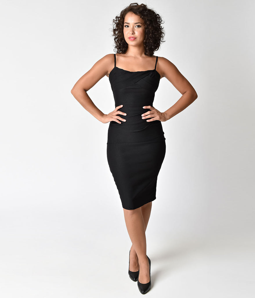 Voodoo Vixen 1950s Style Black Marilyn Wiggle Dress