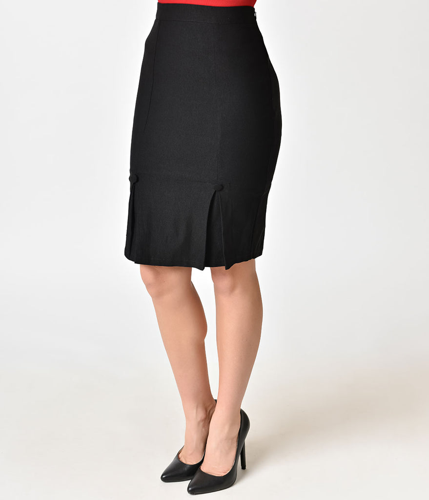 Voodoo Vixen 1950s Style Black Pleated Pencil Skirt