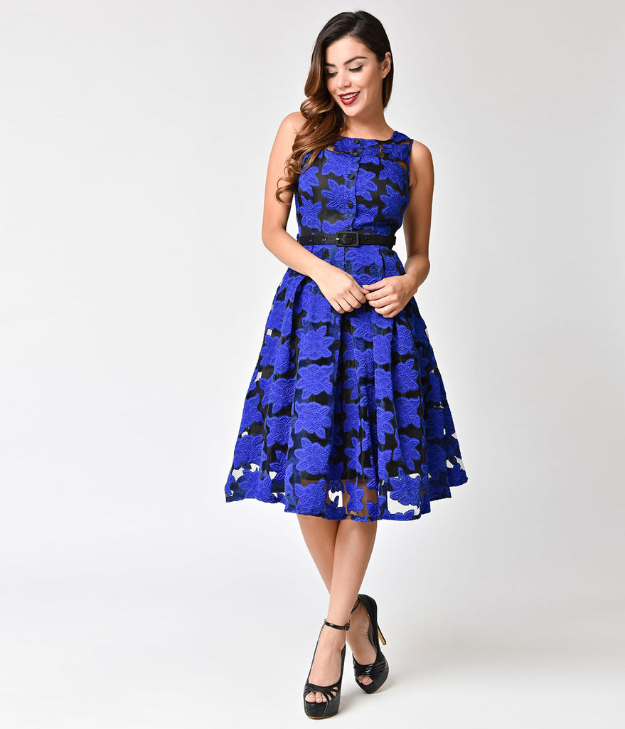Voodoo Vixen 1950s Style Blue Floral Evelyn Swing Dress