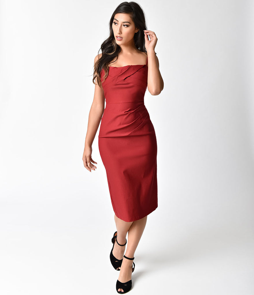 Voodoo Vixen 1950s Style Crimson Red Marilyn Wiggle Dress