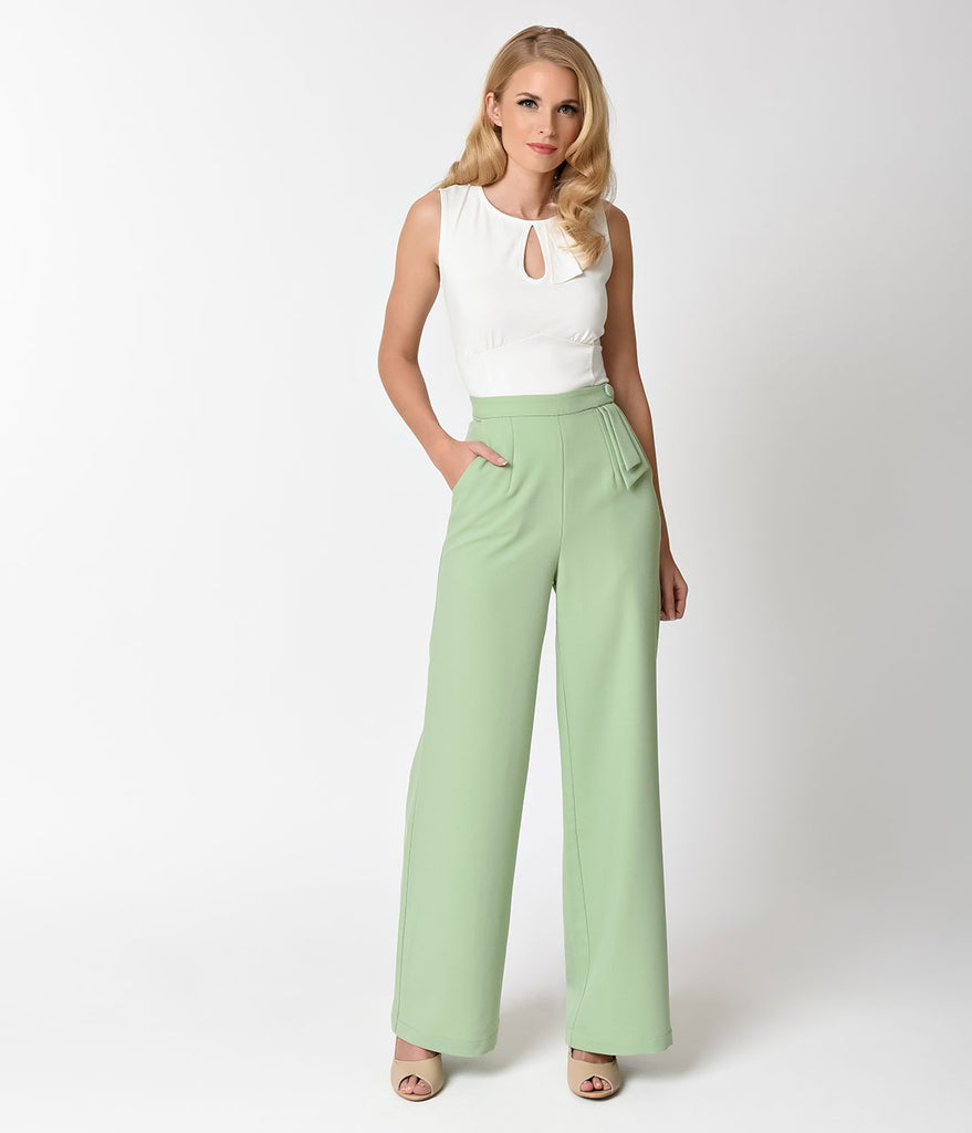 Voodoo Vixen 1950s Style Mint Green High Waist Sadie Pants