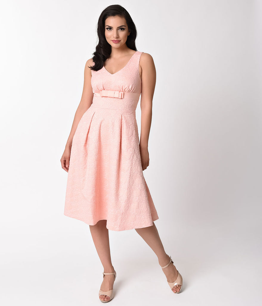 Voodoo Vixen 1950s Style Peach Pink Lace Lauren Swing Dress – Unique ...