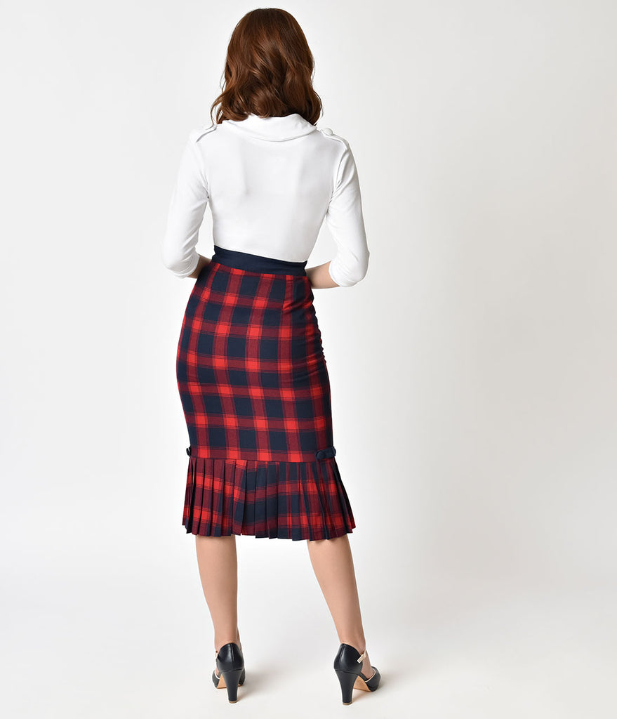 Voodoo Vixen 1950s Style Red Plaid Pleated Frenchie Pencil Skirt