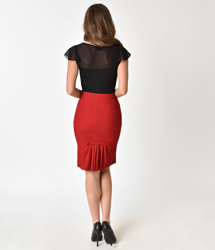 Voodoo Vixen 1950s Style Red Pleated Pencil Skirt