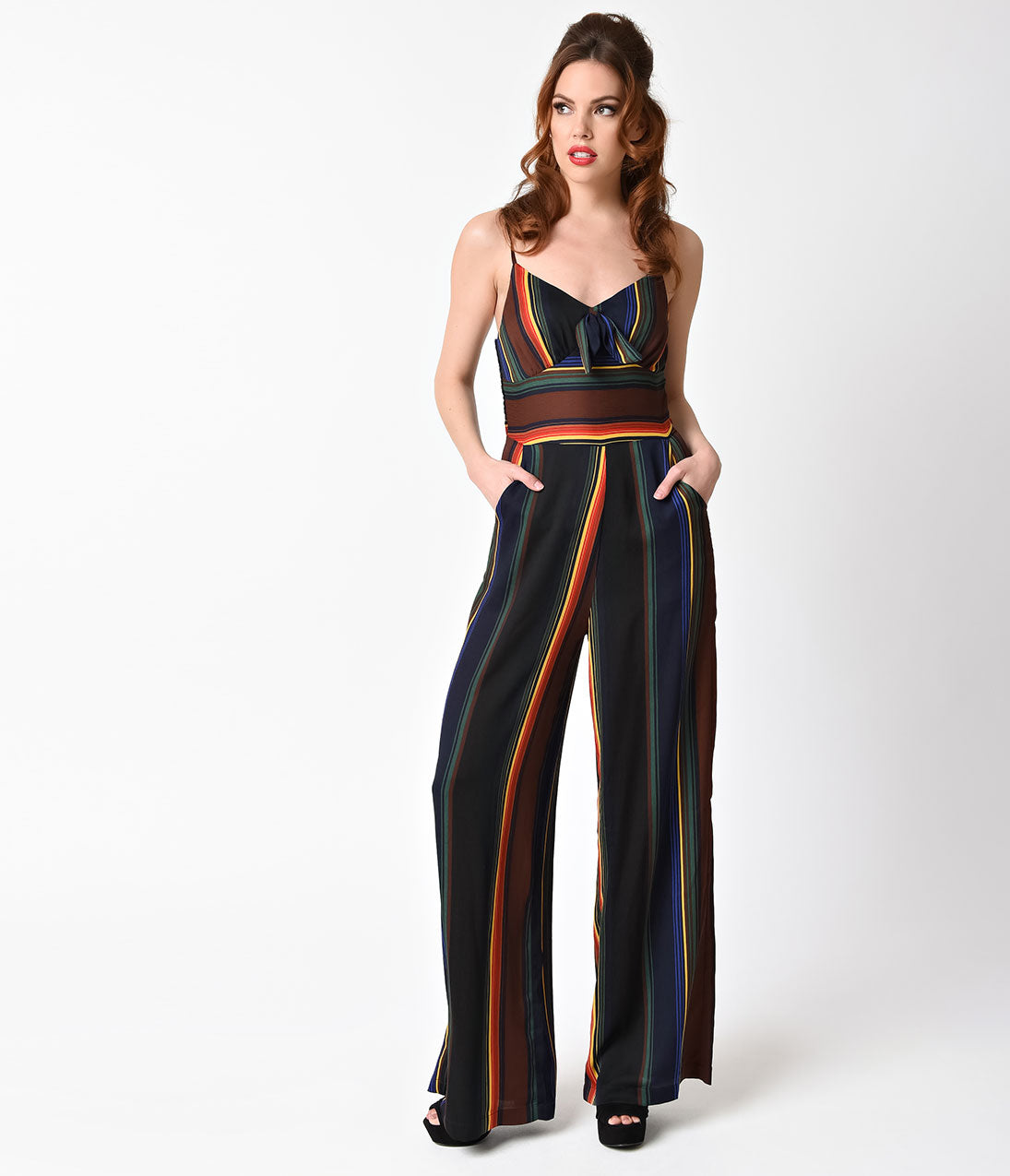 Vintage High Waisted Trousers, Sailor Pants, Jeans Voodoo Vixen 1970S Style Black  Rainbow Striped Vivian Jumpsuit $82.00 AT vintagedancer.com