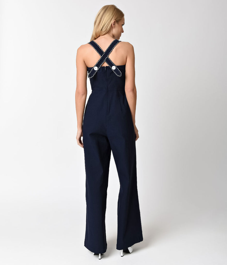 Voodoo Vixen 1970s Style Navy Blue Nautical Maggie-May Jumpsuit