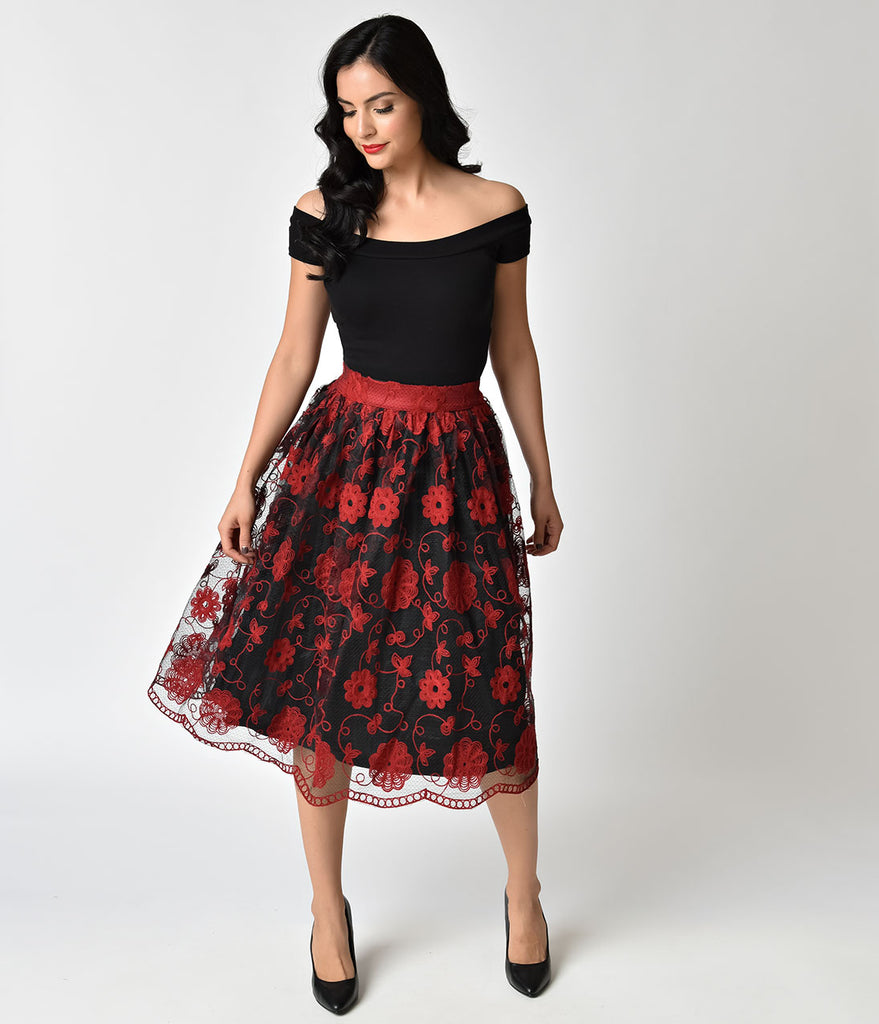 Voodoo Vixen Black & Burgundy Floral Embroidery Swing Skirt