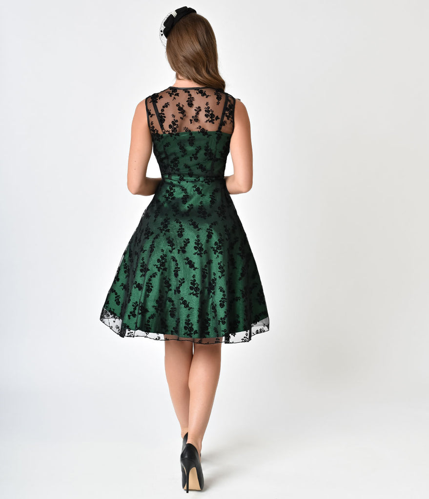Voodoo Vixen Black Mesh & Emerald Taffeta Sleeveless Penny Flare Dress