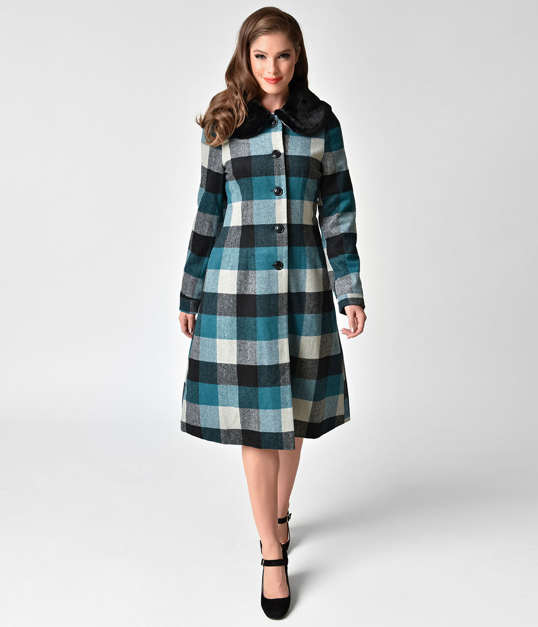 1950s Jackets and Coats | Swing, Pin Up, Rockabilly Voodoo Vixen Blue  Black Plaid Wooly Beatrice Coat $77.00 AT vintagedancer.com