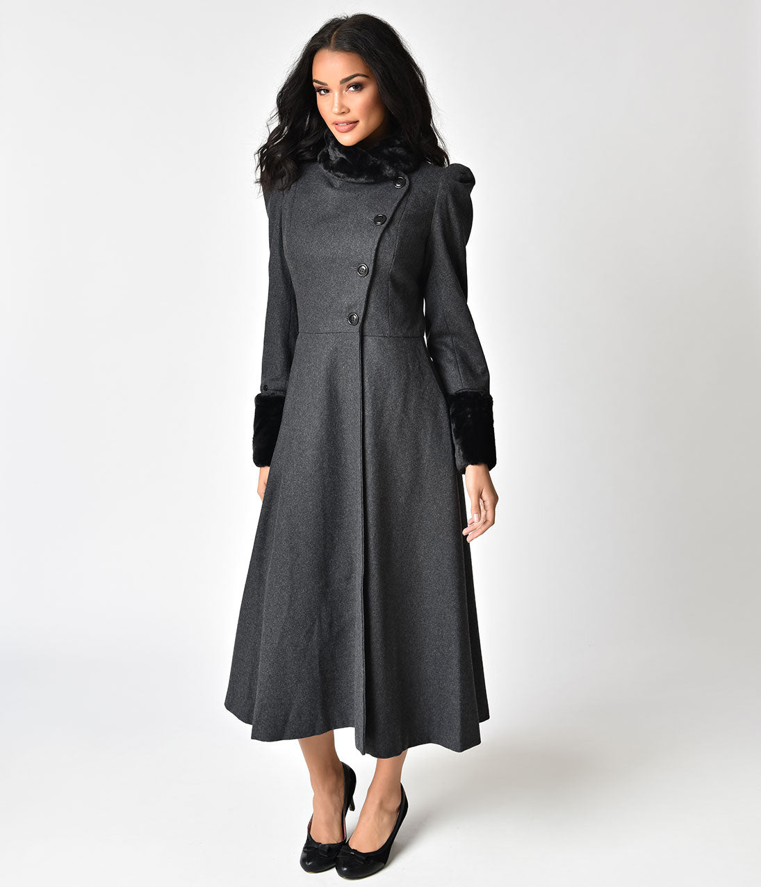 Vintage Coats & Jackets | Retro Coats and Jackets Voodoo Vixen Grey Wool  Black Fur Violet Long Coat $131.00 AT vintagedancer.com
