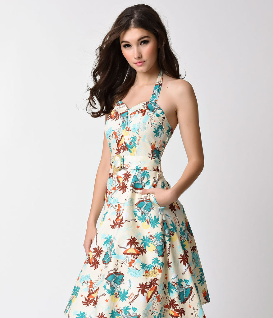 Voodoo Vixen Ivory & Tropical Print Postcard Halter Flare Dress