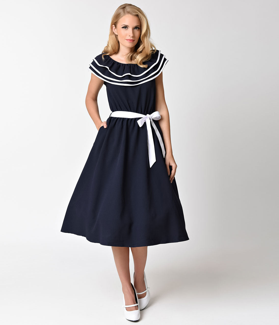 1950s Dresses, 50s Dresses | 1950s Style Dresses Voodoo Vixen Navy Blue Nautical Ruffle Hope Swing Dress $46.00 AT vintagedancer.com