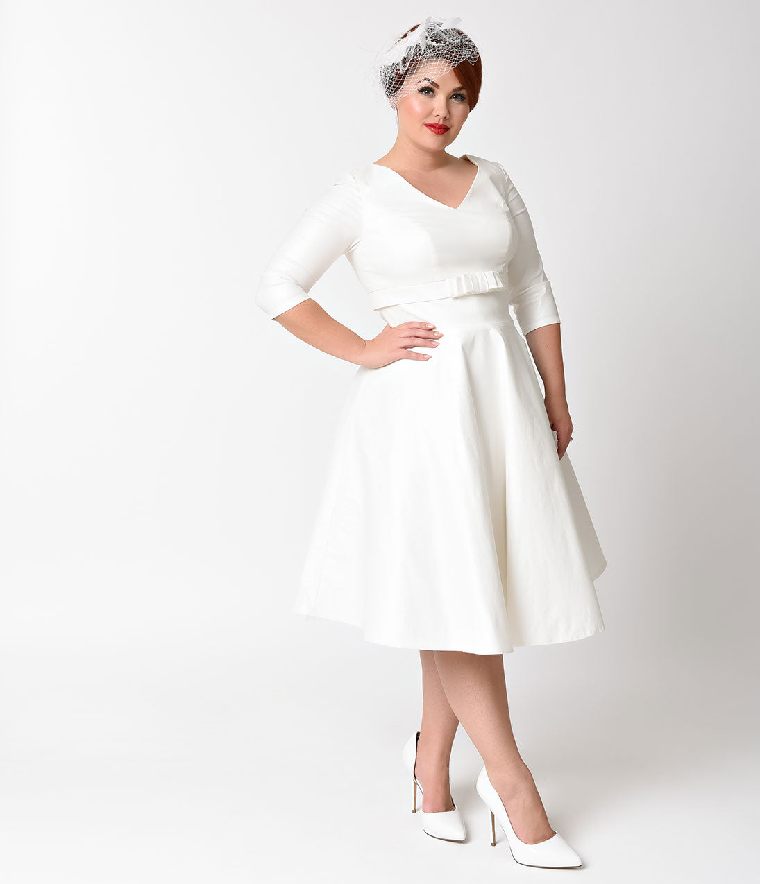 60s Wedding Dress | 1960s Style Wedding Dresses Voodoo Vixen Plus Size 1950s Style White Dorothy Swing Dress $107.00 AT vintagedancer.com
