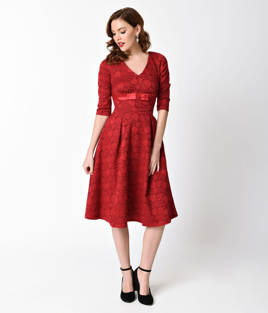 Voodoo Vixen Red Lace Three-Quarter Sleeve Jane Flare Dress – Unique ...