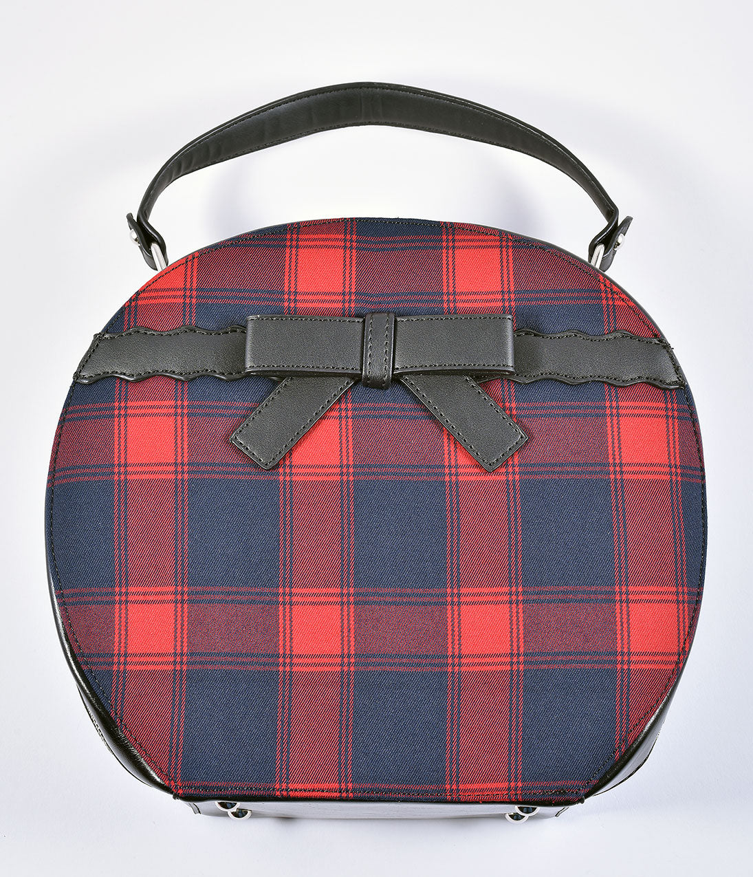 Vintage & Retro Handbags, Purses, Wallets, Bags Voodoo Vixen Red  Navy Tartan Round Hat Box Purse $64.00 AT vintagedancer.com