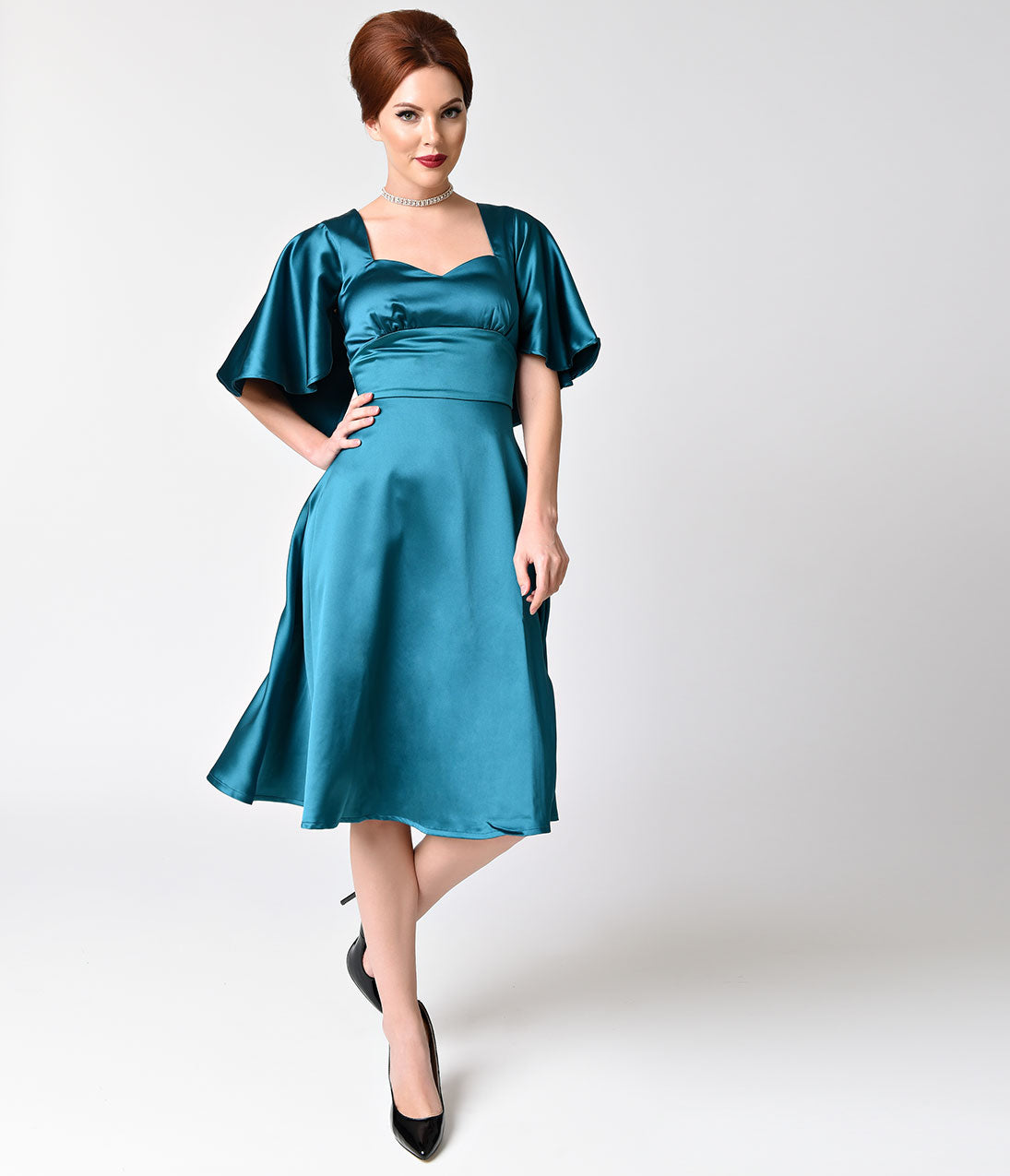 1940s Evening, Prom, Party, Cocktail Dresses & Ball Gowns Voodoo Vixen Retro Style Blue Satin Capelet Sleeves Harper Swing Dress $69.00 AT vintagedancer.com