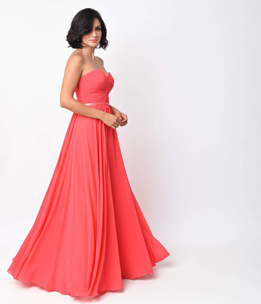 Watermelon Chiffon Strapless Sweetheart Corset Long Gown